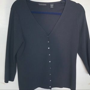 Black Sweater with grey pearl buttons. Small